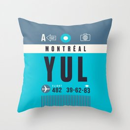 Baggage Tag A - YUL Montreal Canada Throw Pillow