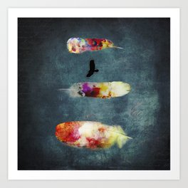Three Feathers And A Bird Art Print