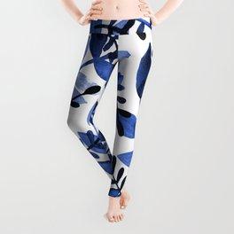 Watercolor branches - blue Leggings