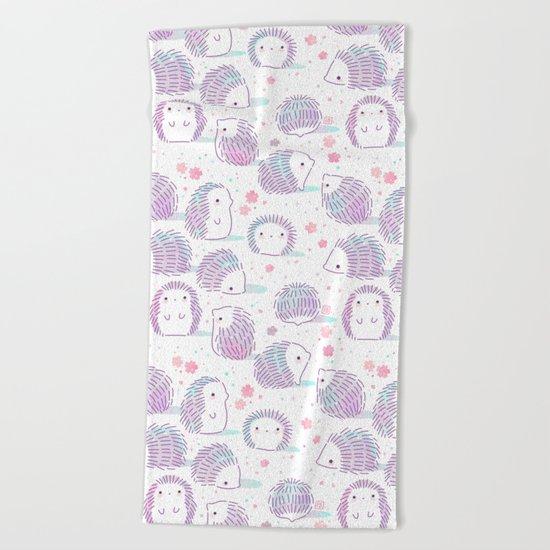 Spring Hedgehog Pattern Beach Towel