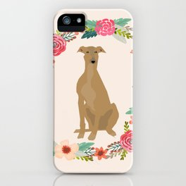 greyhound dog floral wreath dog gifts pet portraits iPhone Case