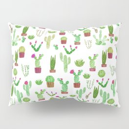 Seamless watercolor cactuses pattern Pillow Sham