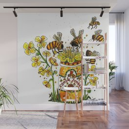 Honey Beeszzz Wall Mural