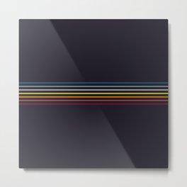 Thin Stripes Retro Colors Metal Print