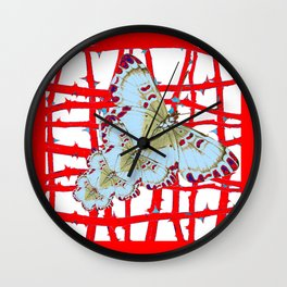 RED-WHITE MOTHS  IN SYNCHRONIZED FLIGHT Wall Clock