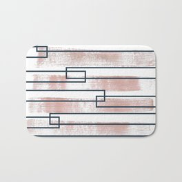 Abstract lines watercolor and geometric painting Bath Mat