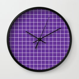 Rebecca Purple - violet color - White Lines Grid Pattern Wall Clock