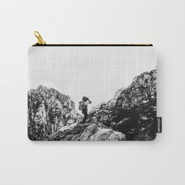 Boys Adventure | Rustic Camping Kid Red Rocks Climbing Explorer Black and White Nursery Photograph Carry-All Pouch