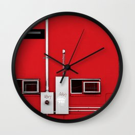 The Grid - Abstract In Red White Black Wall Clock