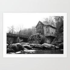 Glade Creek Grist Mill (B&W) Art Print