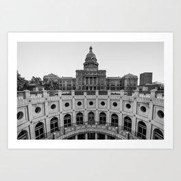 Austin Texas USA State Capitol - Black and White Edition Art Print