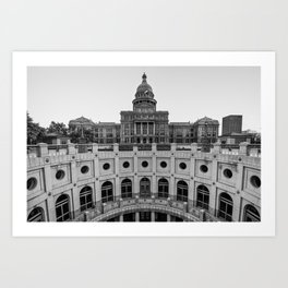 Austin Texas USA State Capitol - Black and White Edition Art Print