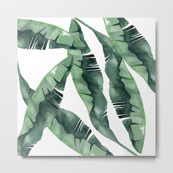 Banana Leaves Green Metal Print