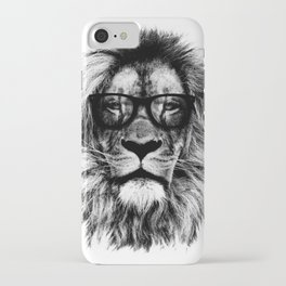 Hipster Lion White iPhone Case