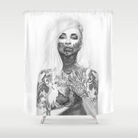 tattoos Shower Curtains featuring Blood and Tattoos by Pippi K
