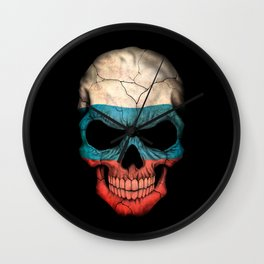 Dark Skull with Flag of Russia Wall Clock