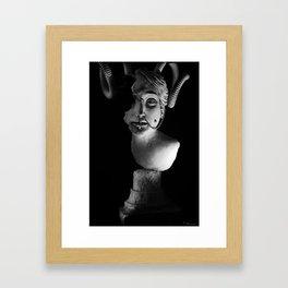Classical Woman with Horns - Sculpture Framed Art Print