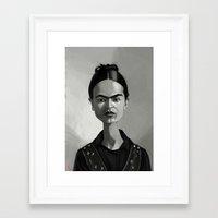 frida kahlo Framed Art Prints featuring Frida Kahlo by Kostas Roussos