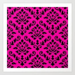 Damask Baroque Pattern Black on Magenta Art Print