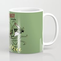 cooking Mugs featuring Cooking! with Cthulhu by Dinosir