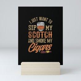 Mens Scotch Whisky Fan Gift I Malt Whiskey and Smoking Cigar product Mini Art Print