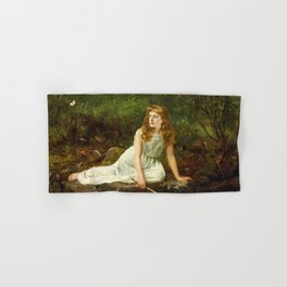 """John Collier """"The Butterfly inscribed 'Portrait of Mabel...'"""" Hand & Bath Towel"""