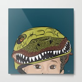 The Dino Helmet Metal Print