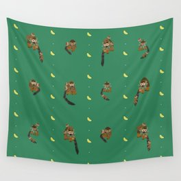 Classic Bananas with Monkeys and Babies Pattern Wall Tapestry