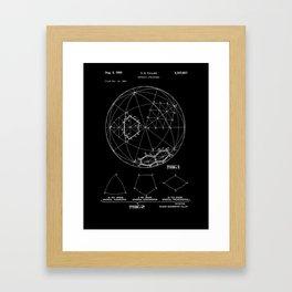 Buckminster Fuller 1961 Geodesic Structures Patent - White on Black Framed Art Print