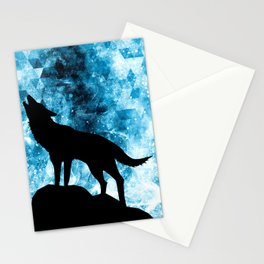 Howling Winter Wolf snowy blue smoke Stationery Cards