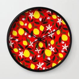 Lemons Red Wall Clock
