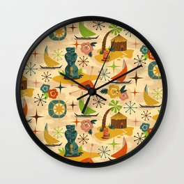 Midcentury Modern Tiki Wall Clock