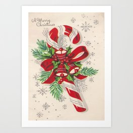 A Vintage Merry Christmas Candy Cane Art Print
