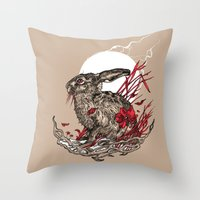 hare Throw Pillows featuring Hare by Rachael Smart
