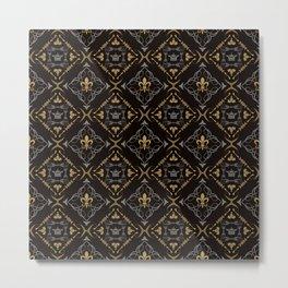 Fleur de Lis & Crown Pattern Metal Print