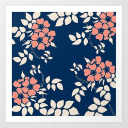 FLORAL IN BLUE AND CORAL Art Print