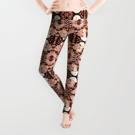 Old Rose Roses Seamless Pattern Leggings