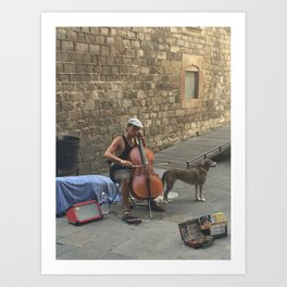 Barcelona Busker Art Print