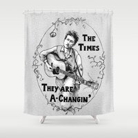 dylan Shower Curtains featuring Bob Dylan by Required Animals