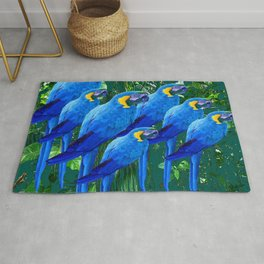 BLUE MACAWS IN GREEN JUNGLE PATTERNS ART Rug