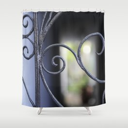 Charleston Blue Wrought Iron Shower Curtain