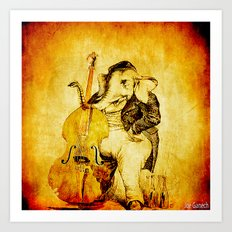 The elephant in the double bass Art Print
