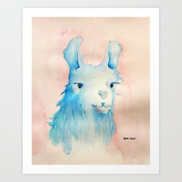 Blue Llama Art Print