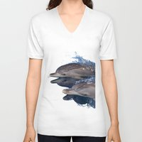 dolphins V-neck T-shirts featuring Dolphins by Chloe Yzoard