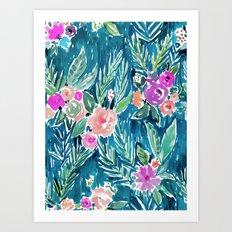 PARADISE FLORAL - NAVY Art Print