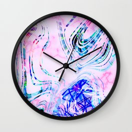 Colorful Fun and Vibrant Marble Summer Pattern Wall Clock
