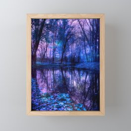 Enchanted Forest Lake Purple Blue Framed Mini Art Print