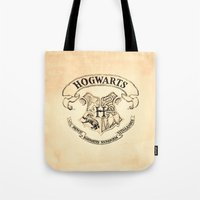 """hogwarts Tote Bags featuring HOGWARTS by """"CVogiatzi."""