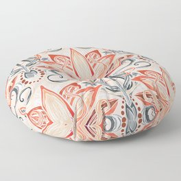 Coral and Grey Watercolor Art Nouveau Aloe Floor Pillow