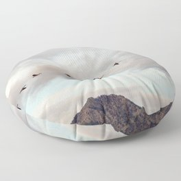 Migration of the Birds // Mountain and Sky Meets Nature Landscape Photography of Wildlife Floor Pillow